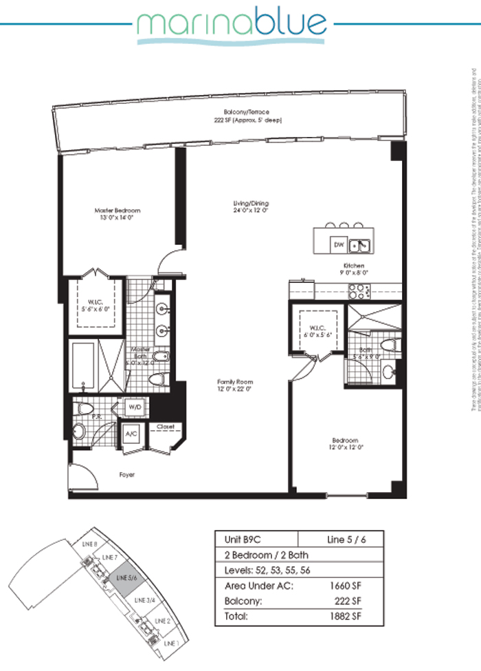 Floor plan for Marina Blue Downtown Miami Miami, model B9C, line 05, 2/2 bedrooms, 1660 sq ft