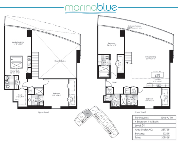 Floor plan for Marina Blue Downtown Miami Miami, model PH6, line 09,10, 4/4.5 bedrooms, 2877 sq ft