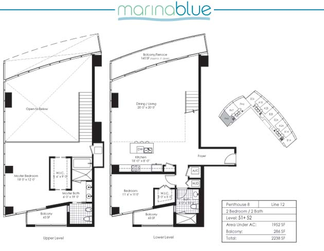 Floor plan for Marina Blue Downtown Miami Miami, model PH8, line 12, 2/2 bedrooms, 1952 sq ft