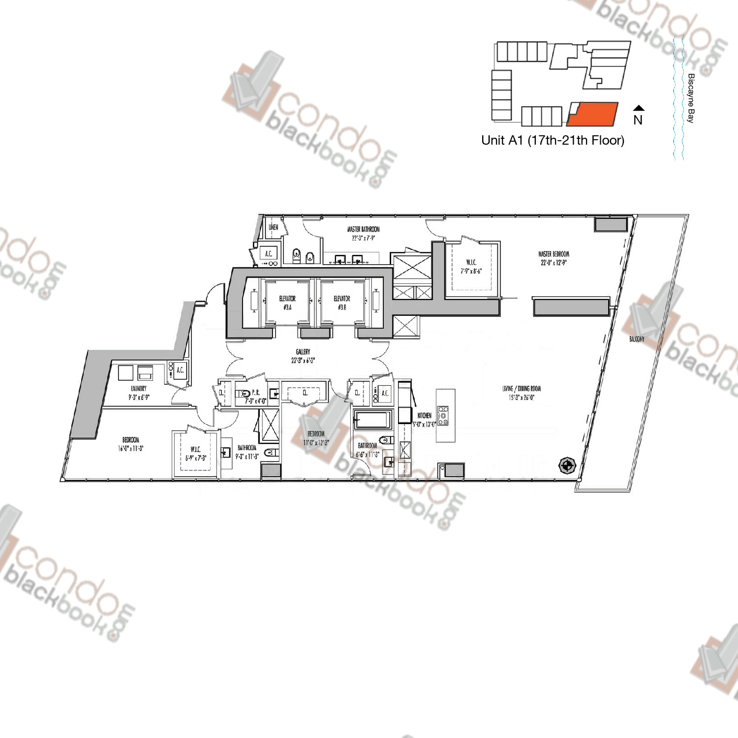 Floor plan for Marquis Downtown Miami Miami, model A, line 01, 3/2.5 bedrooms, 2,888 sq ft