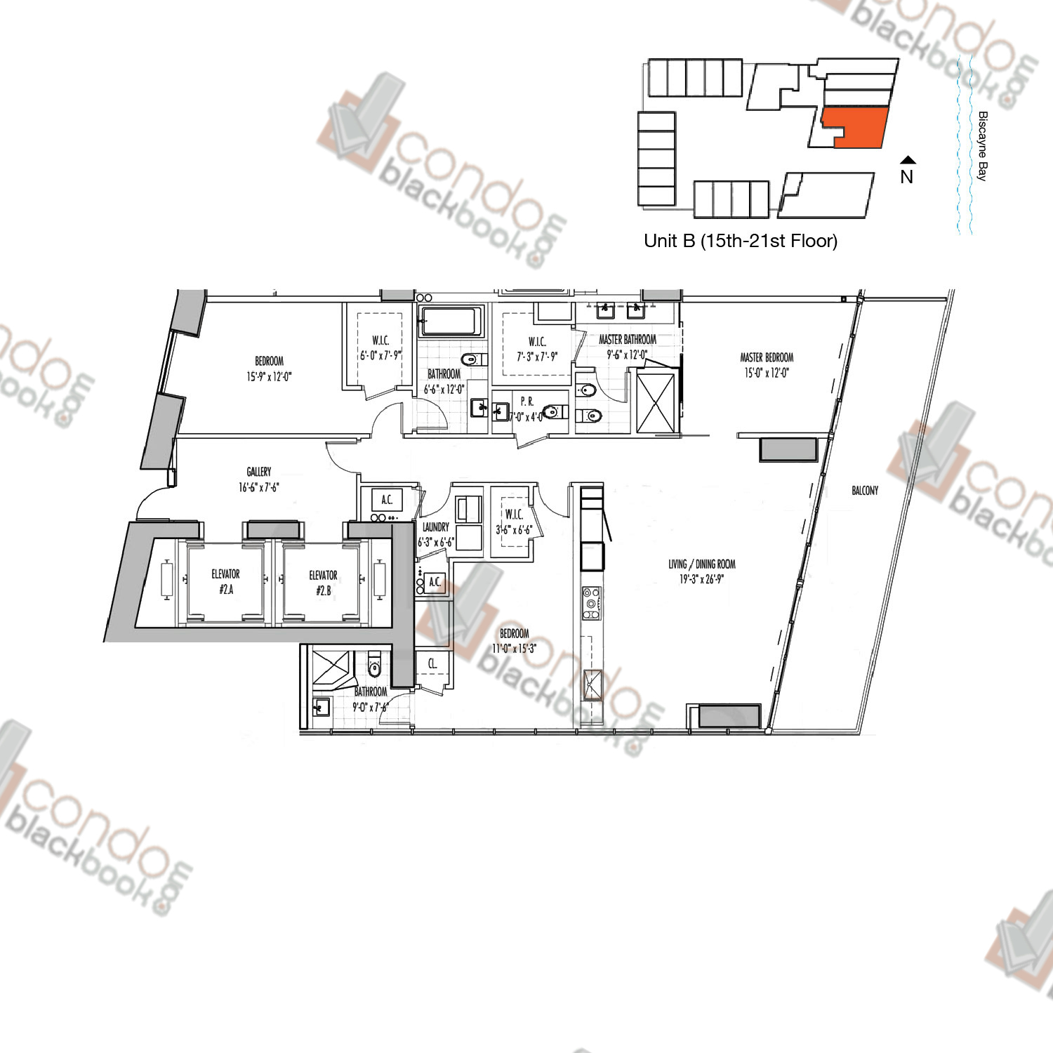 Floor plan for Marquis Downtown Miami Miami, model B, line 02, 3/3.5 bedrooms, 2,046 sq ft