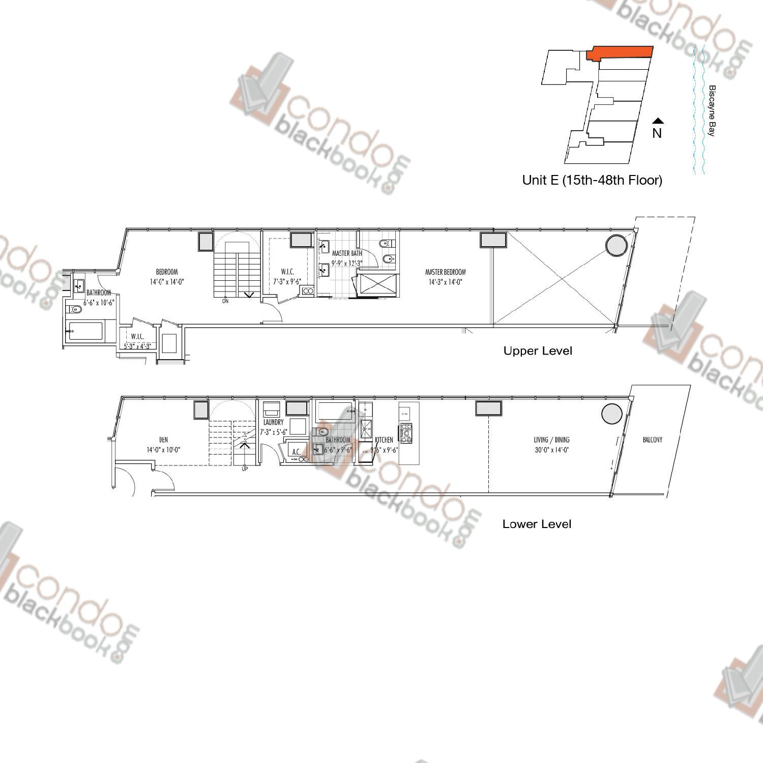 Floor plan for Marquis Downtown Miami Miami, model E, line 07, 2/3 + Den bedrooms, 2,081 sq ft