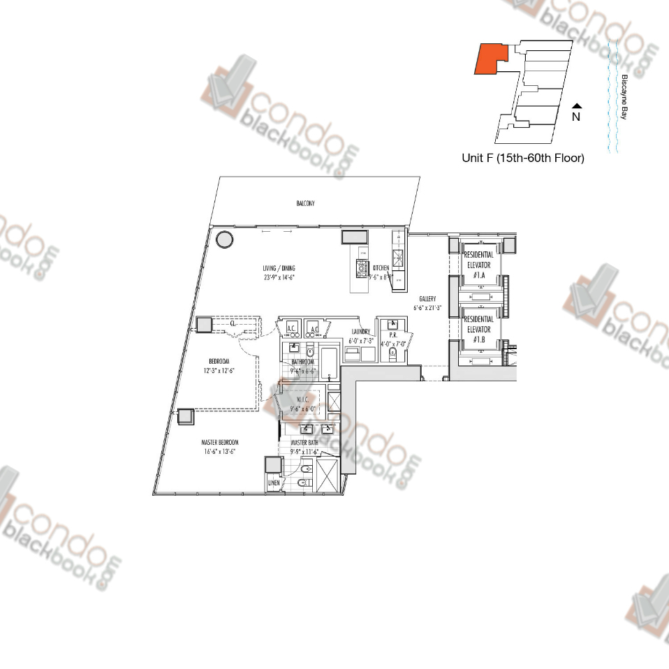 Floor plan for Marquis Downtown Miami Miami, model F, line 08, 2/2.5 bedrooms, 1,647 sq ft