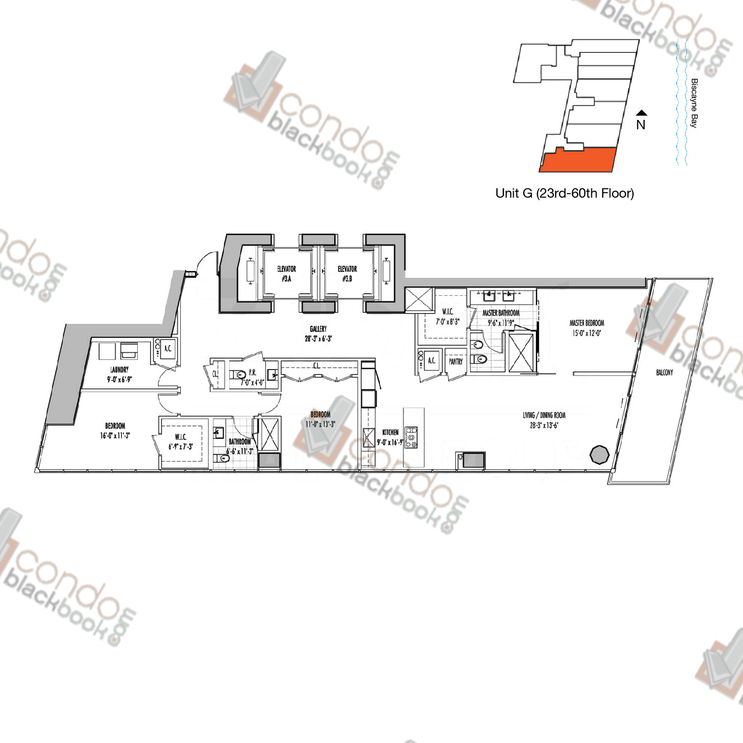 Floor plan for Marquis Downtown Miami Miami, model G, line 01, 3/2.5 bedrooms, 2,106 sq ft