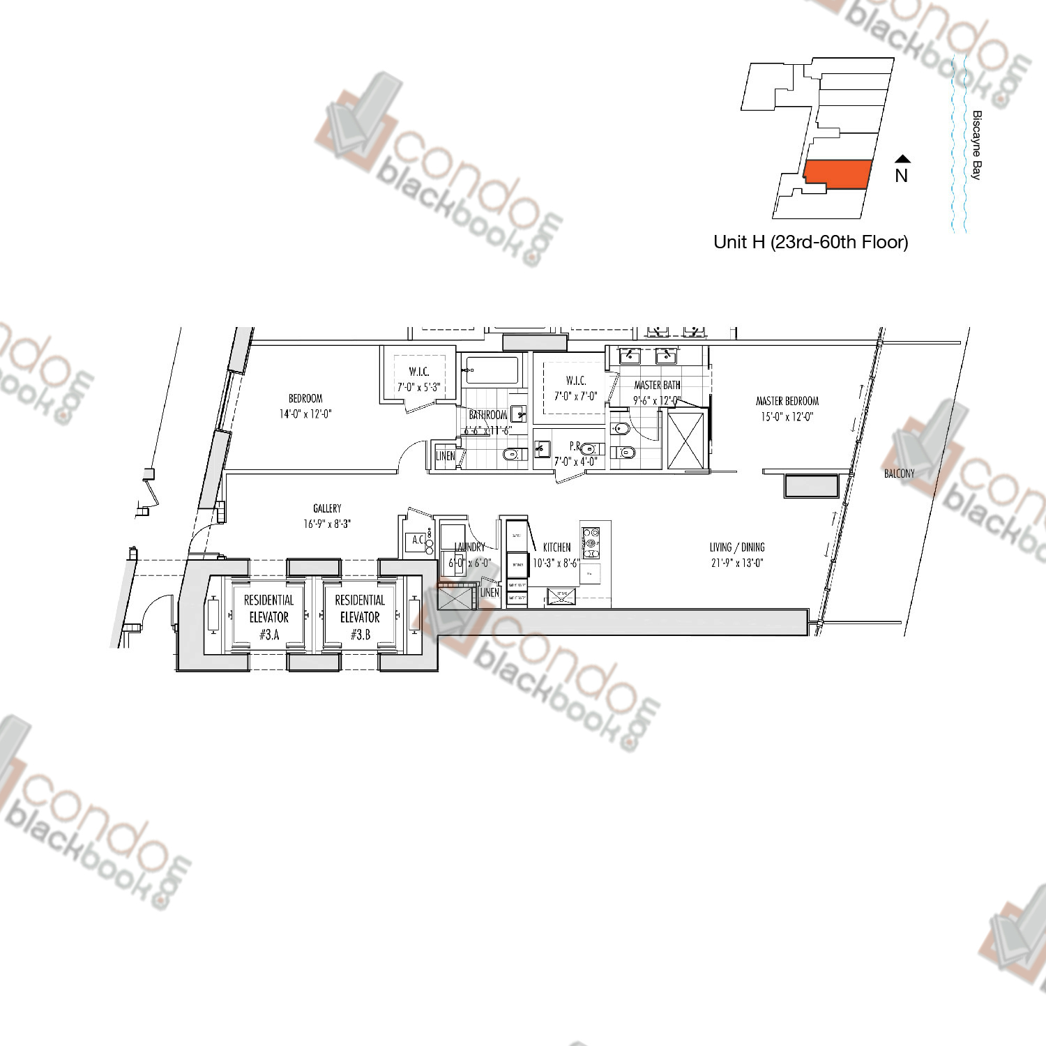 Floor plan for Marquis Downtown Miami Miami, model H, line 02, 2/2.5 bedrooms, 1,557 sq ft