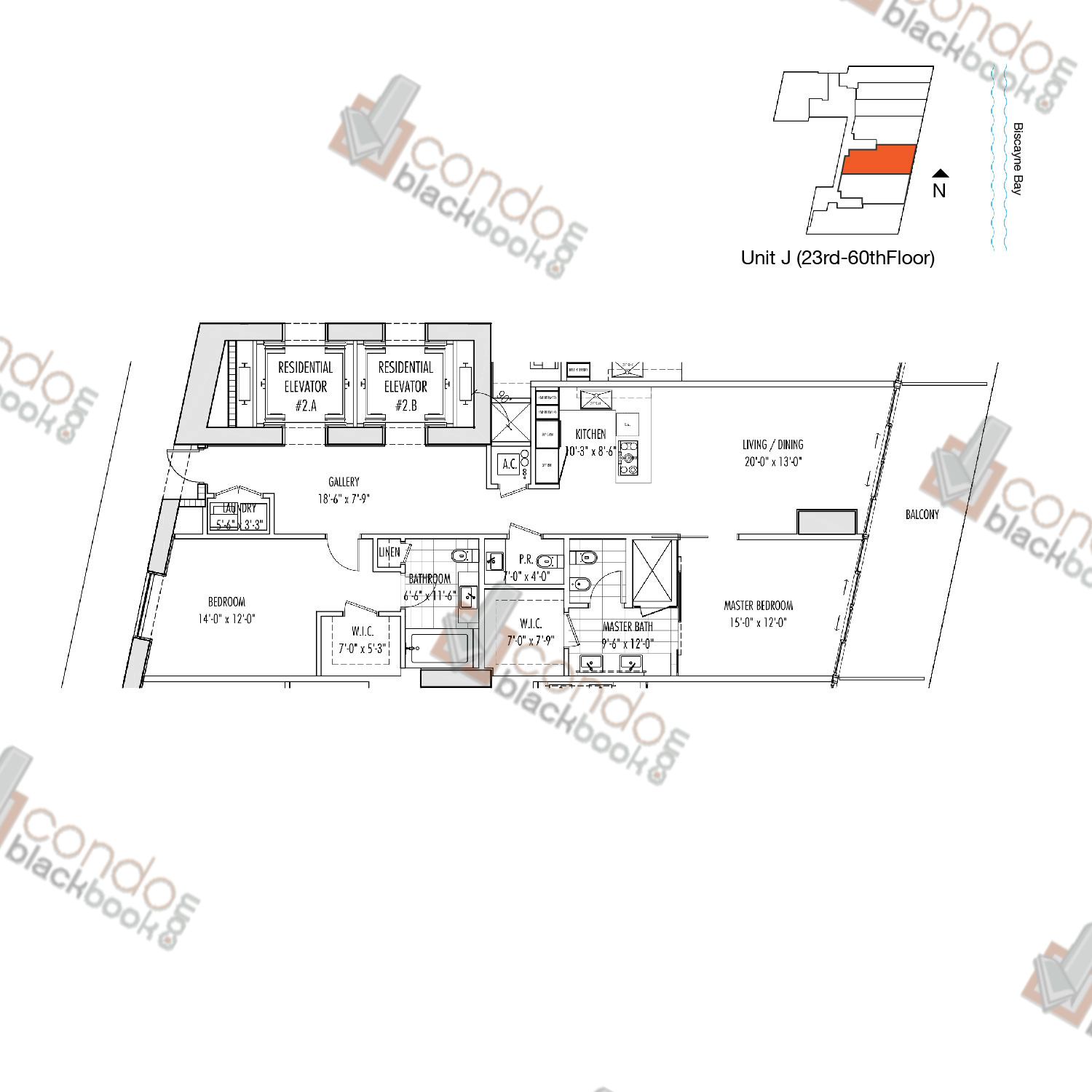 Floor plan for Marquis Downtown Miami Miami, model J, line 03, 2/2.5 bedrooms, 1,498 sq ft