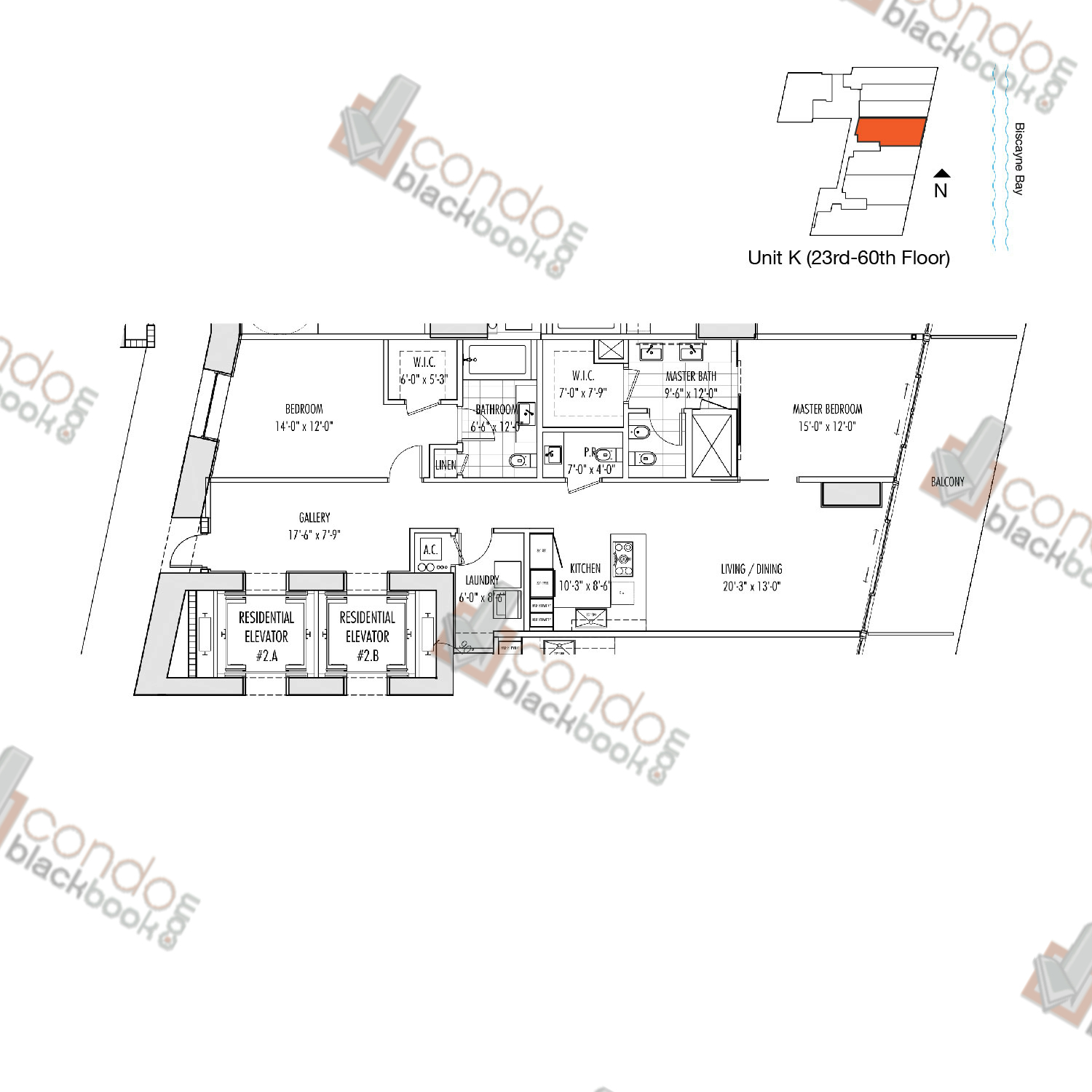 Floor plan for Marquis Downtown Miami Miami, model K, line 04, 2/2.5 bedrooms, 1,477 sq ft