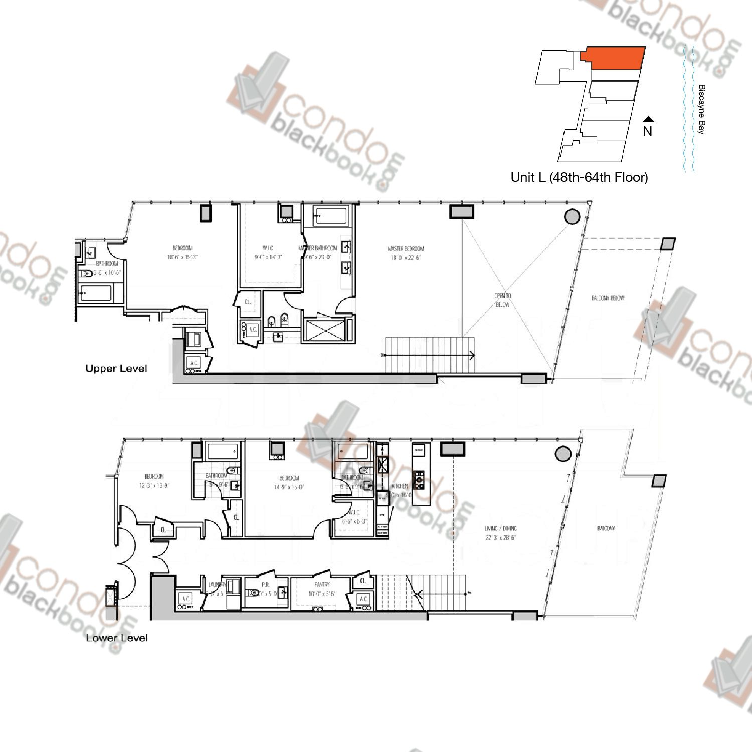 Floor plan for Marquis Downtown Miami Miami, model L, line 06, 4/4.5 bedrooms, 3,800 sq ft