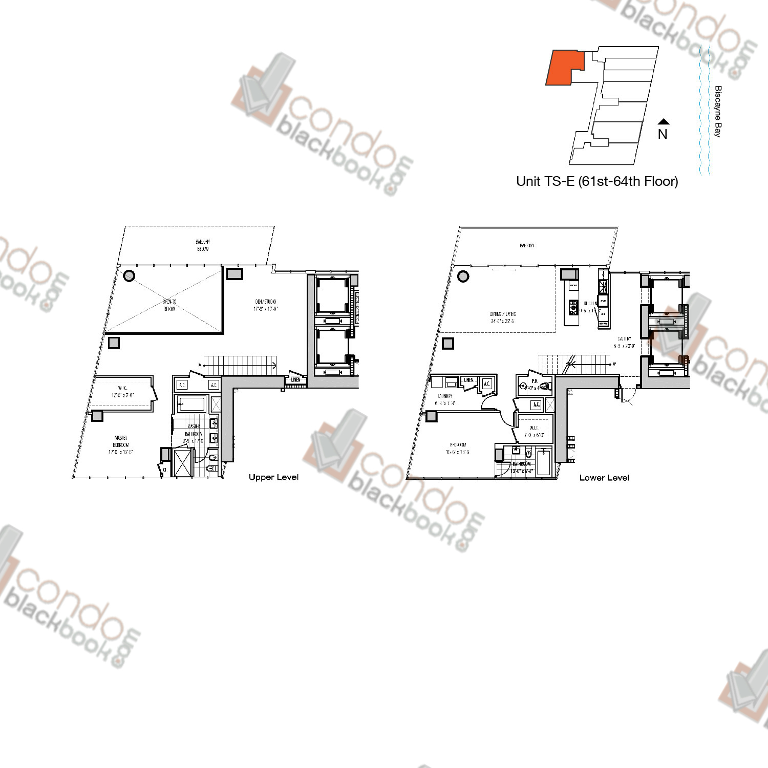 Floor plan for Marquis Downtown Miami Miami, model TS-E, line 07, 2/2.5 bedrooms, 3,017 sq ft