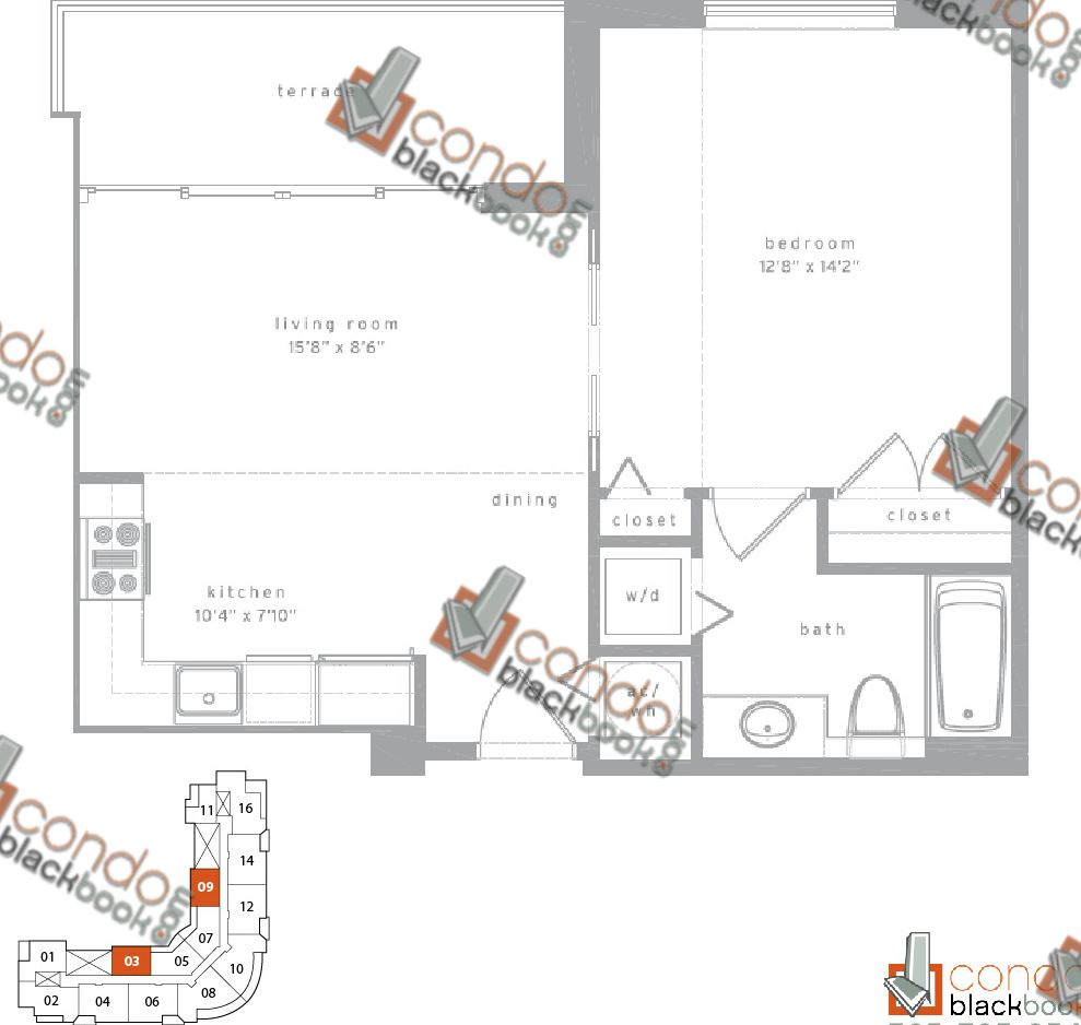 Floor plan for Met1 Downtown Miami Miami, model A, line 03/09, 1/1 bedrooms, 693 sq ft