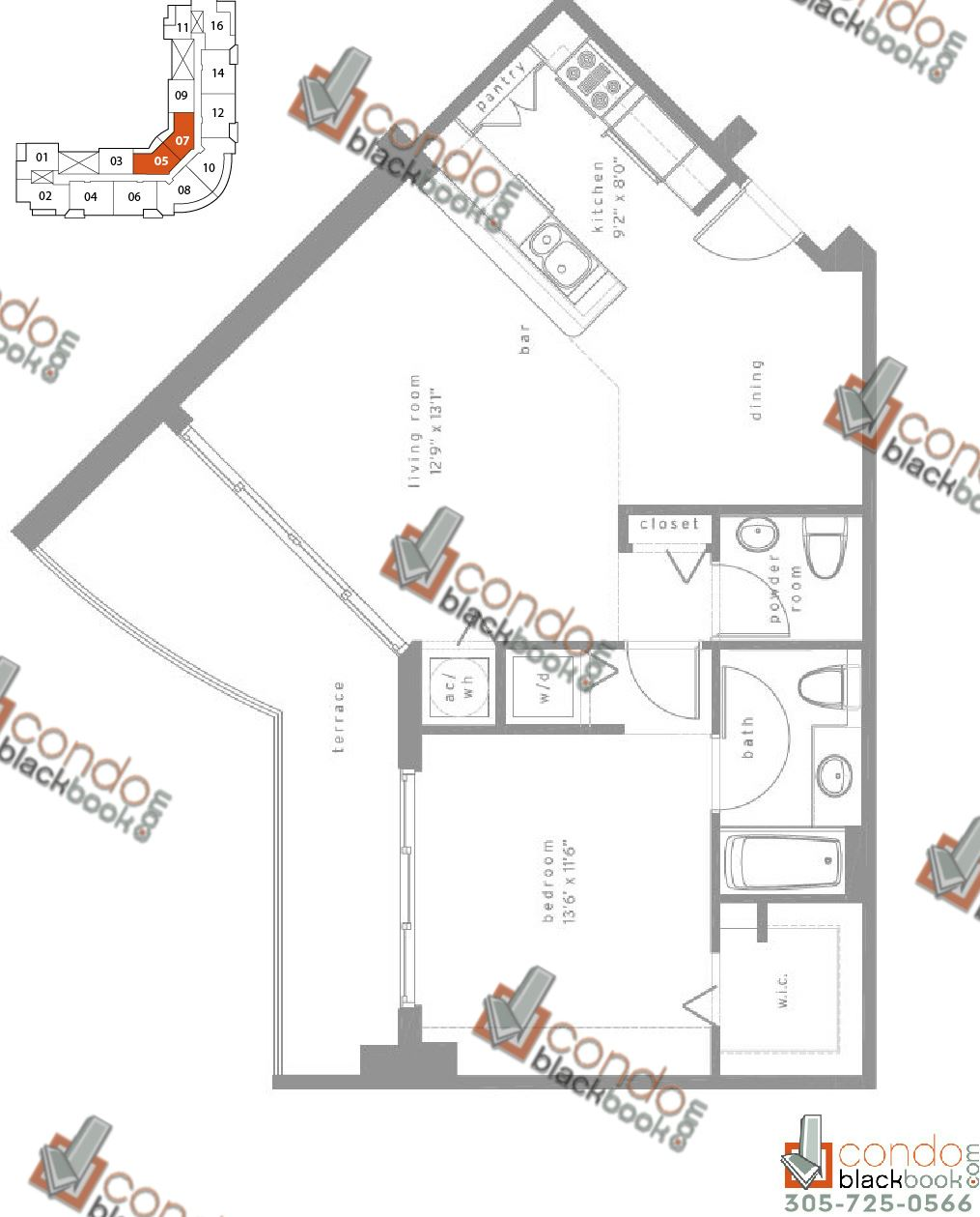Floor plan for Met1 Downtown Miami Miami, model B, line 05/07, 1/1,5 bedrooms, 955 sq ft