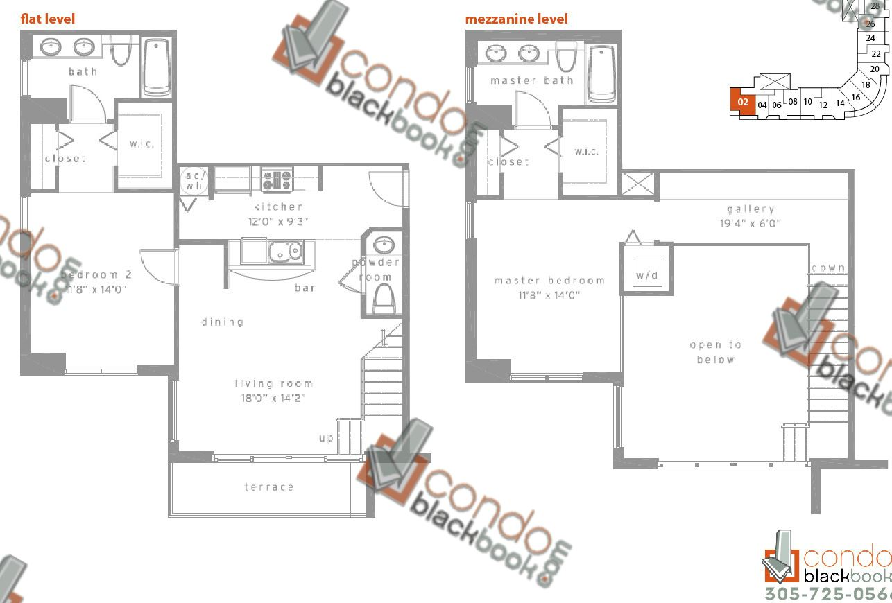 Floor plan for Met1 Downtown Miami Miami, model C, line 01, 1/1,5 bedrooms, 1,017 sq ft