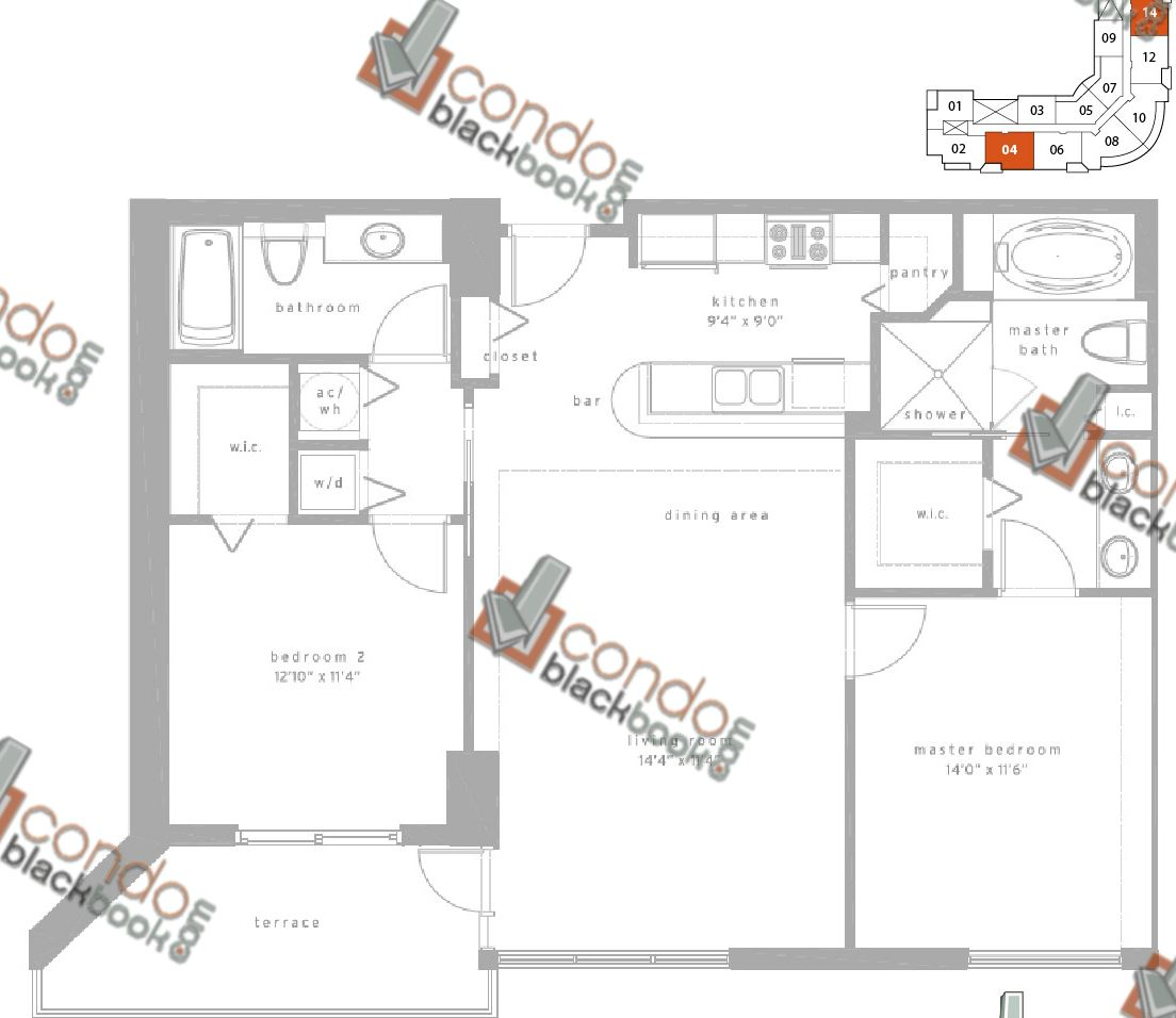 Floor plan for Met1 Downtown Miami Miami, model E, line 04/14, 2/2 bedrooms, 1,228 sq ft
