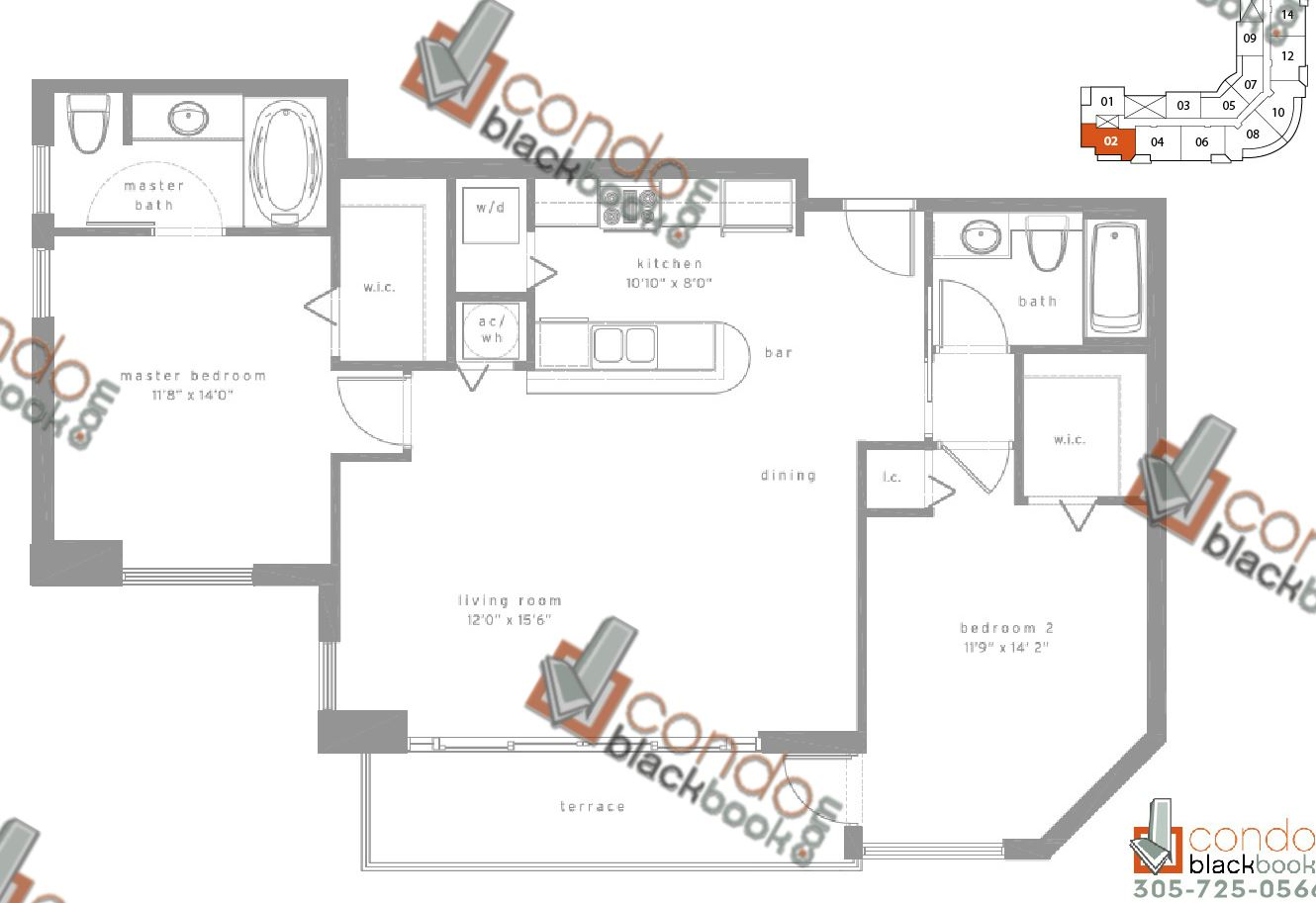 Floor plan for Met1 Downtown Miami Miami, model F, line 02, 2/2 bedrooms, 1,262 sq ft