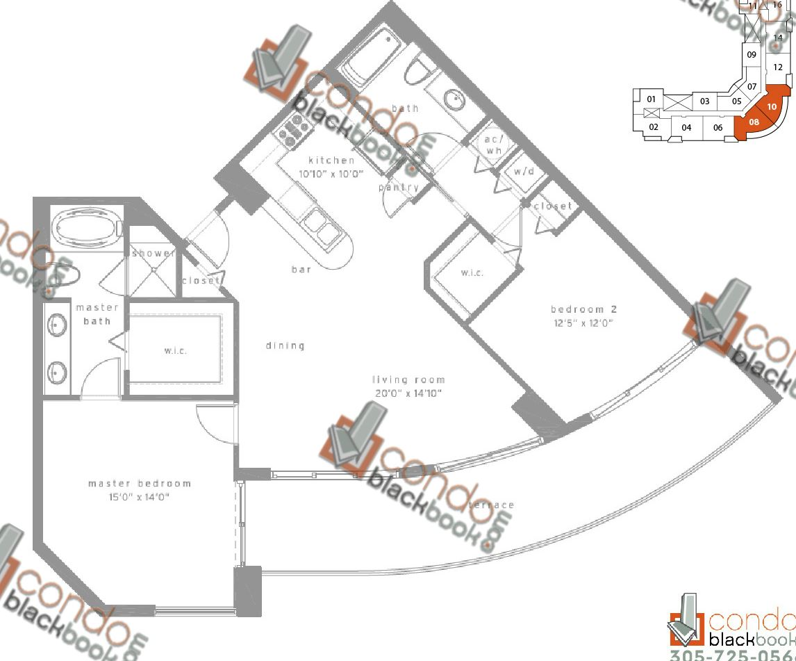 Floor plan for Met1 Downtown Miami Miami, model G, line 08/10, 2/2 bedrooms, 1,474 sq ft