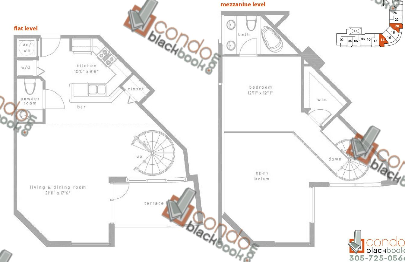 Floor plan for Met1 Downtown Miami Miami, model LG, line 14/20, 1/1,5 bedrooms, 1,049 sq ft