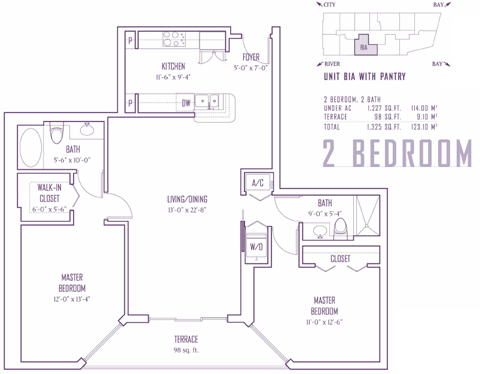 Floor plan for One Miami Downtown Miami Miami, model B1A, line 05,19, 2/2 bedrooms, 1227 sq ft