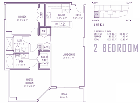 Floor plan for One Miami Downtown Miami Miami, model B2A, line 01,15, 2/2 bedrooms, 1145 sq ft