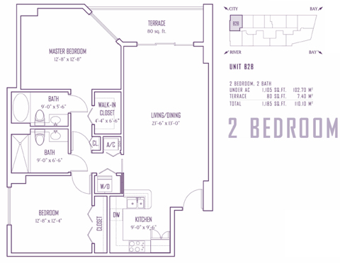 Floor plan for One Miami Downtown Miami Miami, model B2B, line 00,14, 2/2 bedrooms, 1105 sq ft