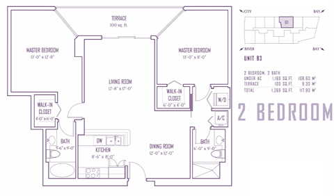 Floor plan for One Miami Downtown Miami Miami, model B3, line 08,22, 2/2 bedrooms, 1169 sq ft