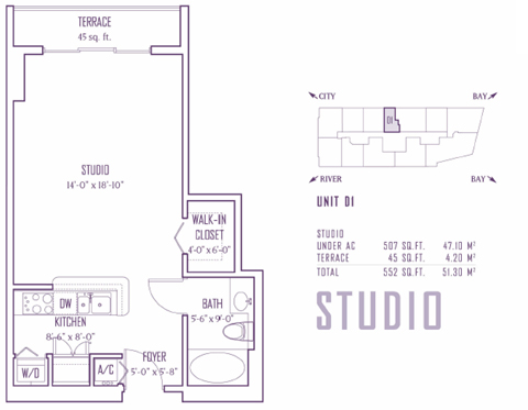 Floor plan for One Miami Downtown Miami Miami, model D1, line 06,20, 0/1 bedrooms, 507 sq ft