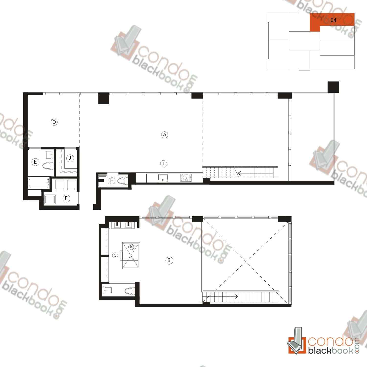 Floor plan for Ten Museum Park Downtown Miami Miami, model 04, line 04, 2/2.5 bedrooms, 1,730 sq ft