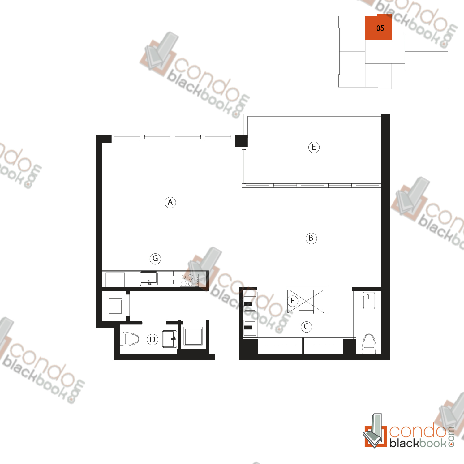 Floor plan for Ten Museum Park Downtown Miami Miami, model 05, line 05, 1/1.5 bedrooms, 791 sq ft