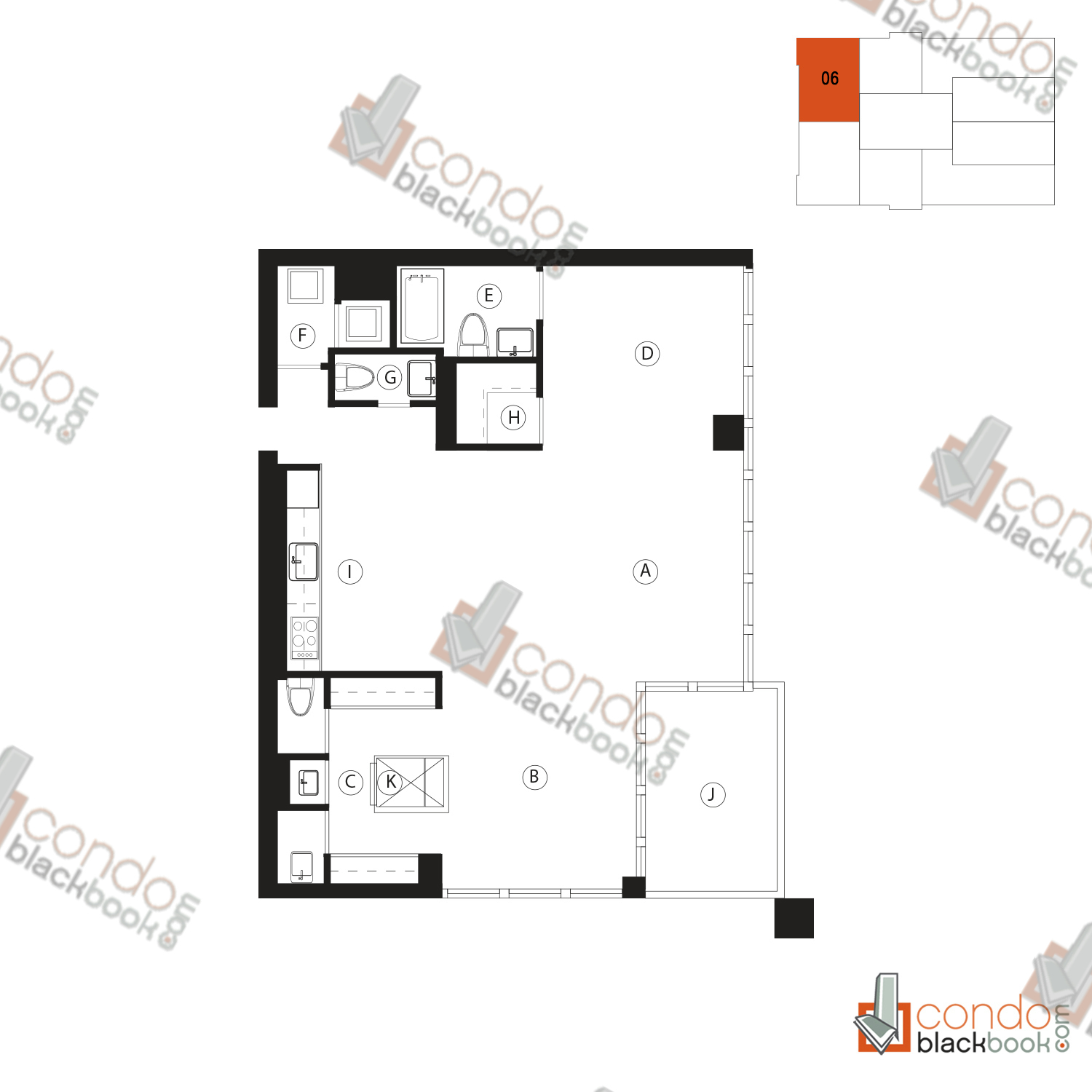 Floor plan for Ten Museum Park Downtown Miami Miami, model 06, line 06, 2/2.5 bedrooms, 1,123 sq ft