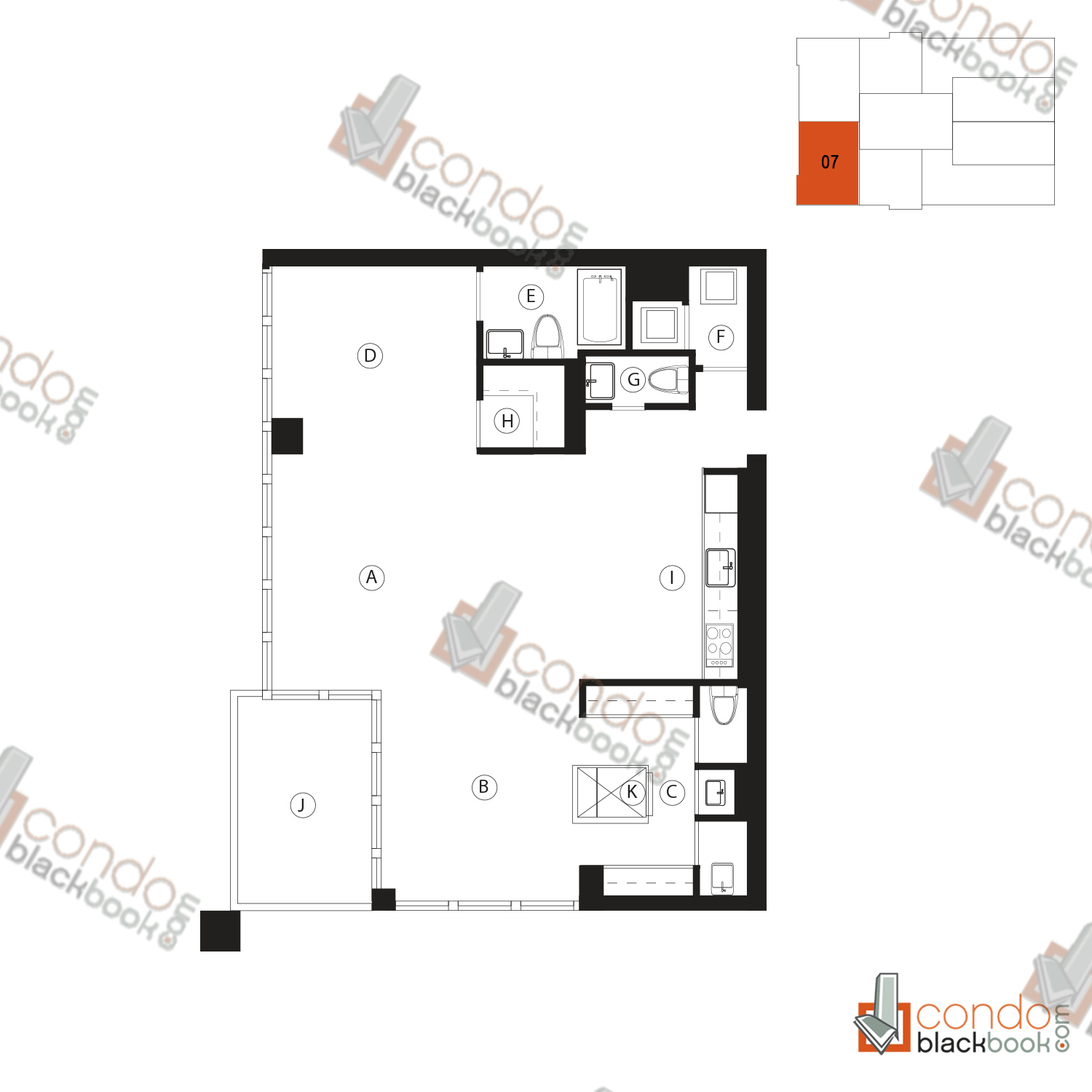 Floor plan for Ten Museum Park Downtown Miami Miami, model 07, line 07, 2/2.5 bedrooms, 1,123 sq ft