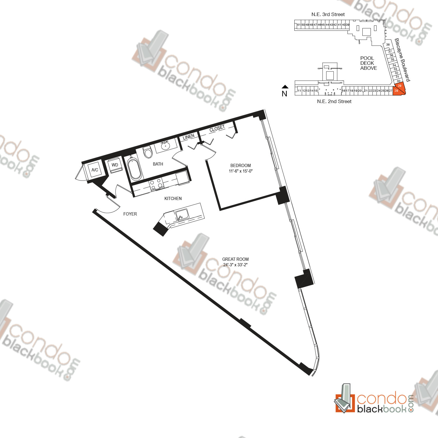 Floor plan for Vizcayne Downtown Miami Miami, model FLAT 4, line 28, 29, 1/1 bedrooms, 1095 sq ft