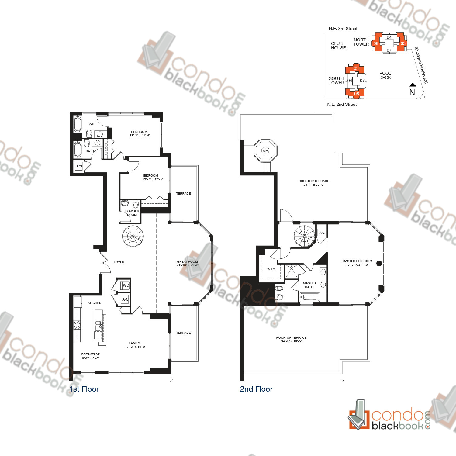 Floor plan for Vizcayne Downtown Miami Miami, model PENTHOUSE 10, line 03, 08, 3/3.5 bedrooms, 2,795 sq ft