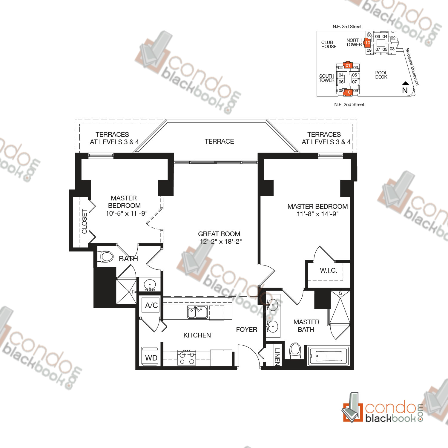 Floor plan for Vizcayne Downtown Miami Miami, model RESIDENCE 1, line 01, 10, 1/2+DEN bedrooms, 1,044 sq ft