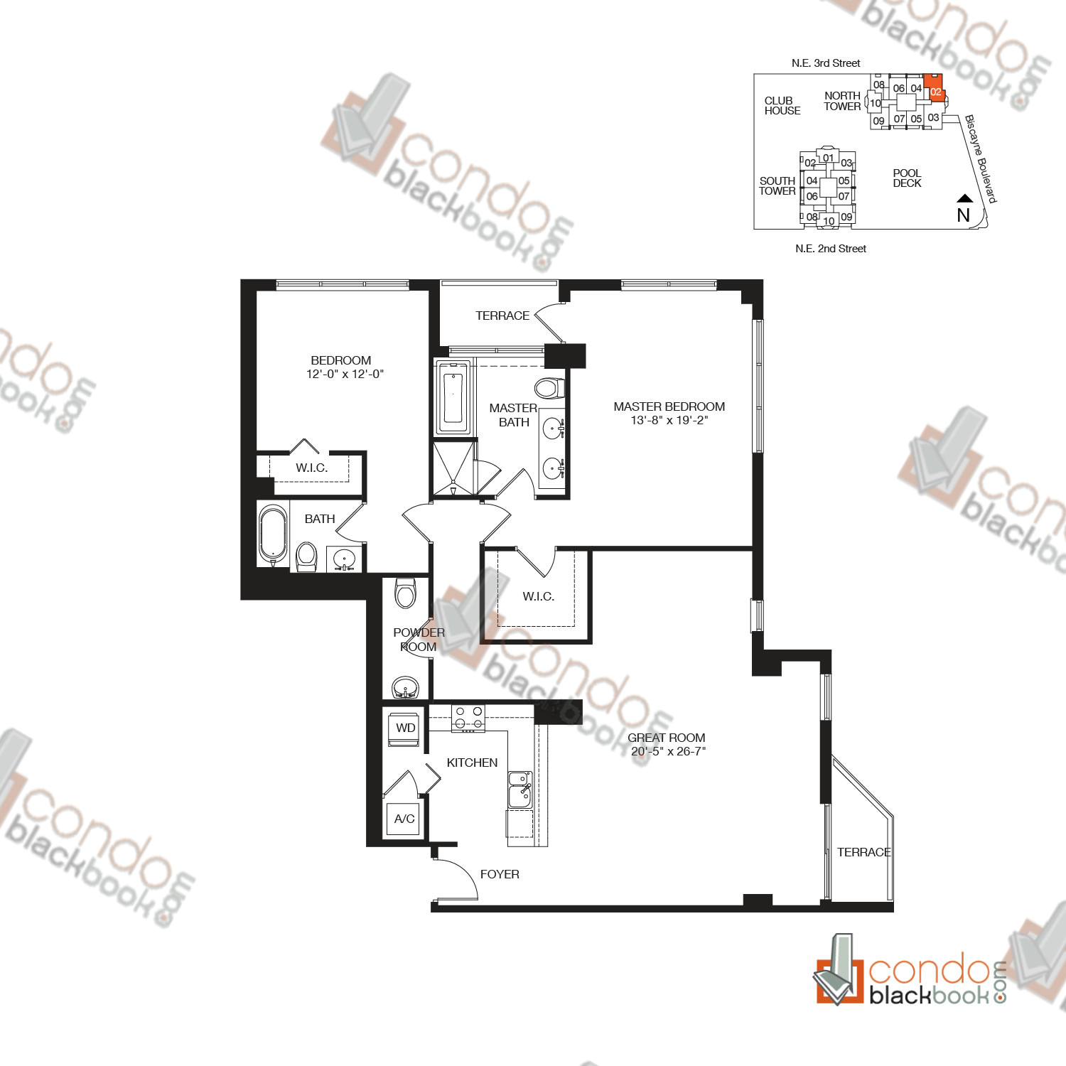 Floor plan for Vizcayne Downtown Miami Miami, model RESIDENCE 12, line 02, 2/2.5 bedrooms, 1,603 sq ft