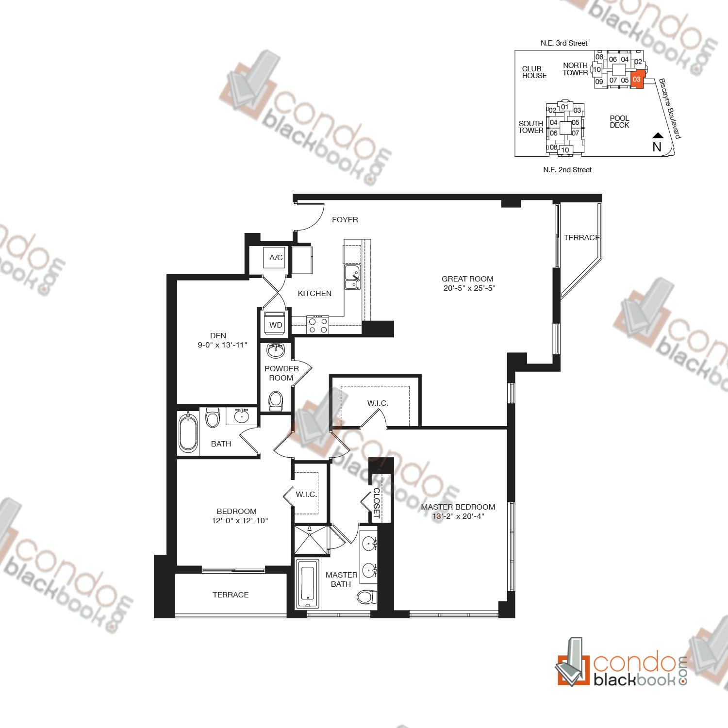 Floor plan for Vizcayne Downtown Miami Miami, model RESIDENCE 13, line 03, 2/2.5+DEN bedrooms, 1,741 sq ft