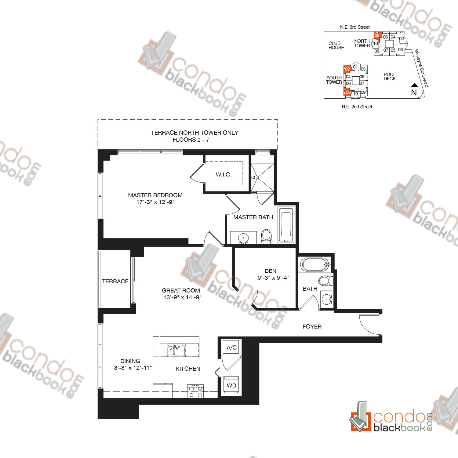 Floor plan for Vizcayne Downtown Miami Miami, model RESIDENCE 2, line 02, 08, 1/2+DEN bedrooms, 1,146 sq ft