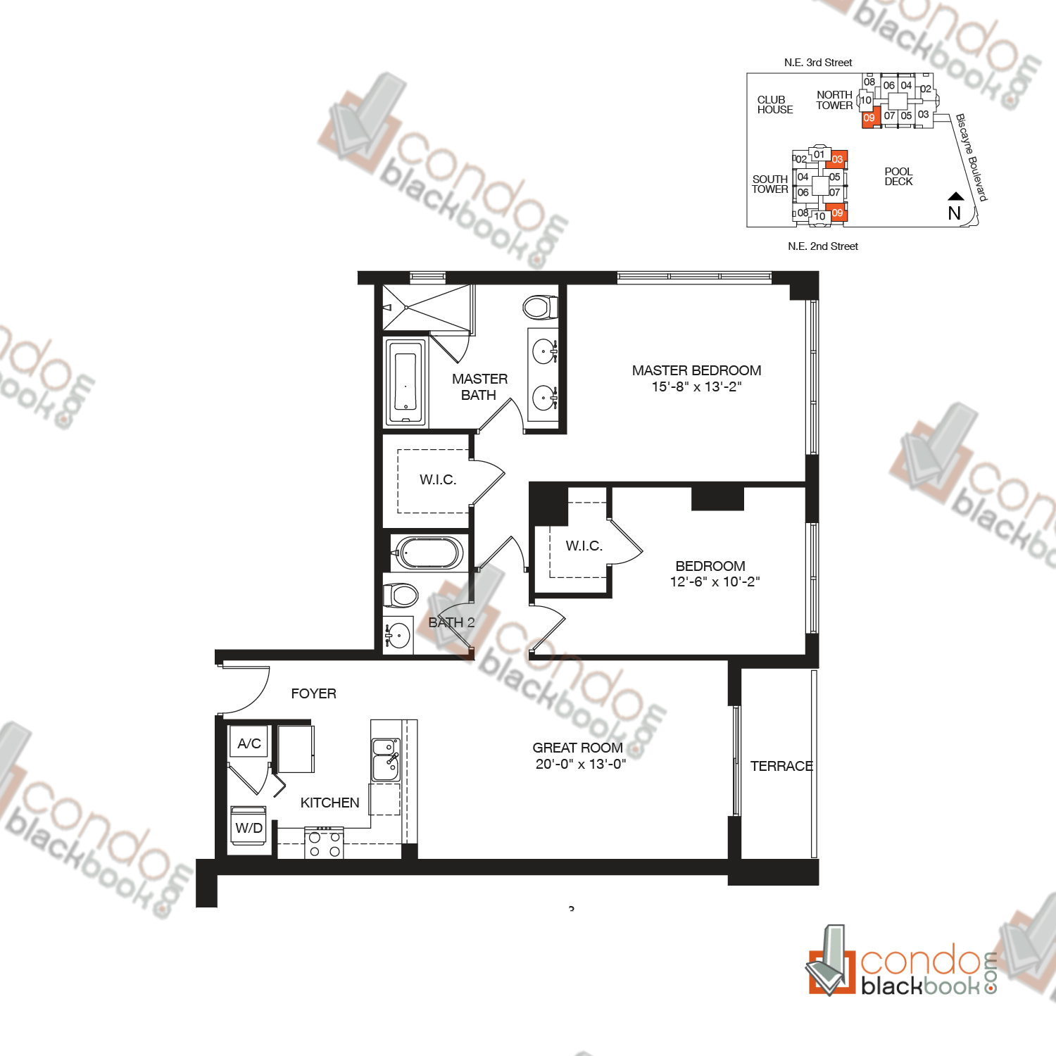 Floor plan for Vizcayne Downtown Miami Miami, model RESIDENCE 3, line 03, 09, 2/2 bedrooms, 1,195 sq ft