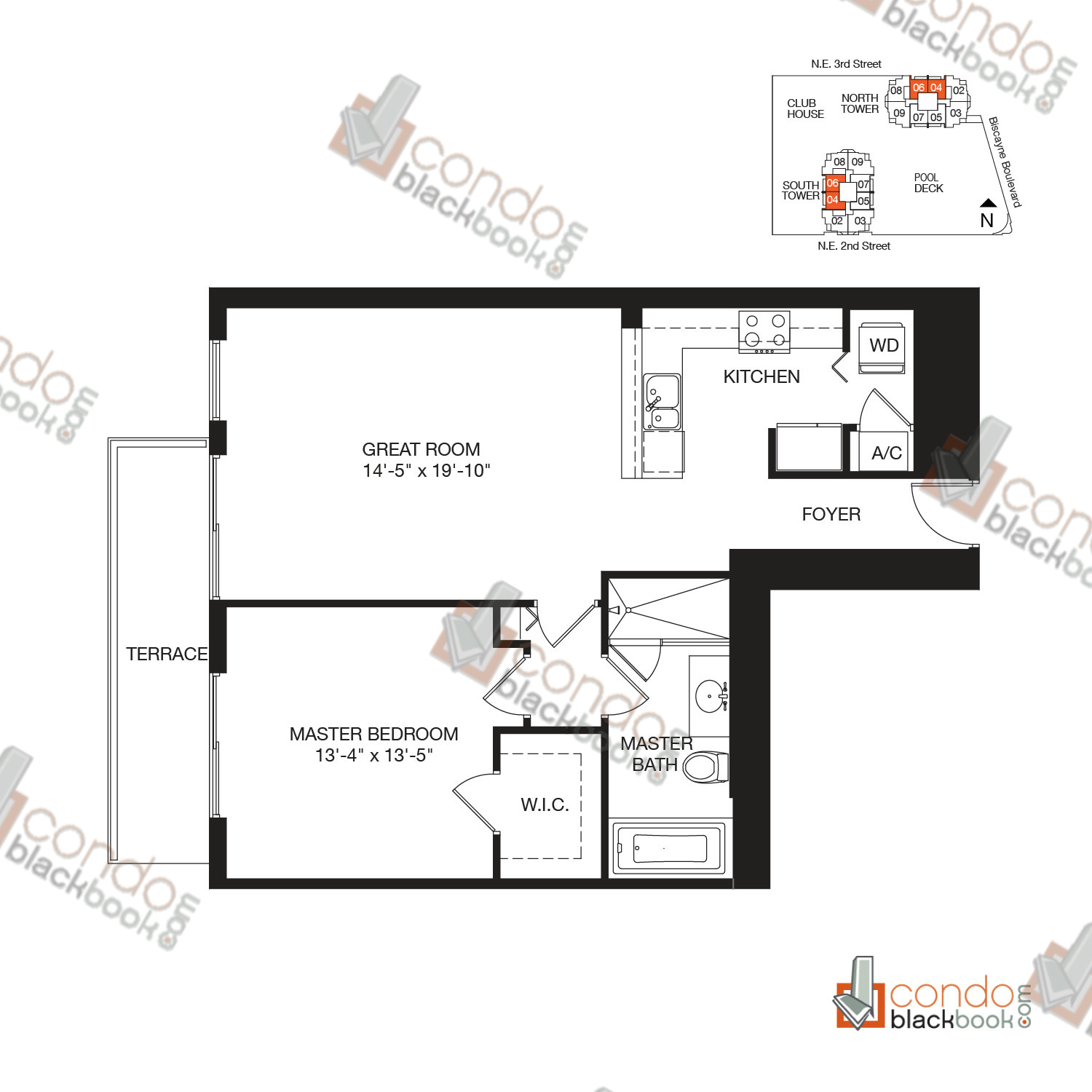 Floor plan for Vizcayne Downtown Miami Miami, model RESIDENCE 4, line 04, 05, 06, 07, 1/1 bedrooms, 881 sq ft