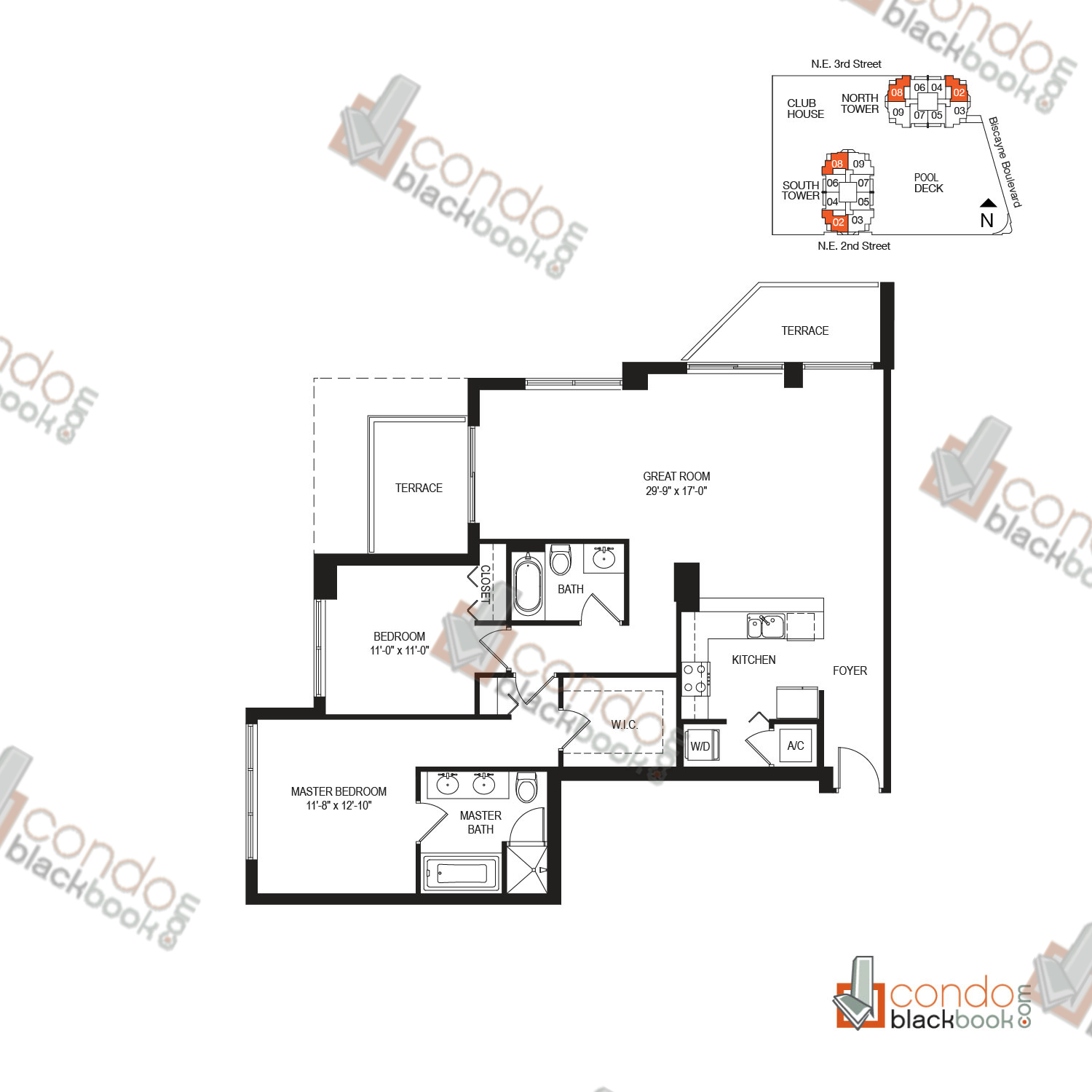 Floor plan for Vizcayne Downtown Miami Miami, model RESIDENCE 5, line 02, 08, 2/2 bedrooms, 1,357 sq ft