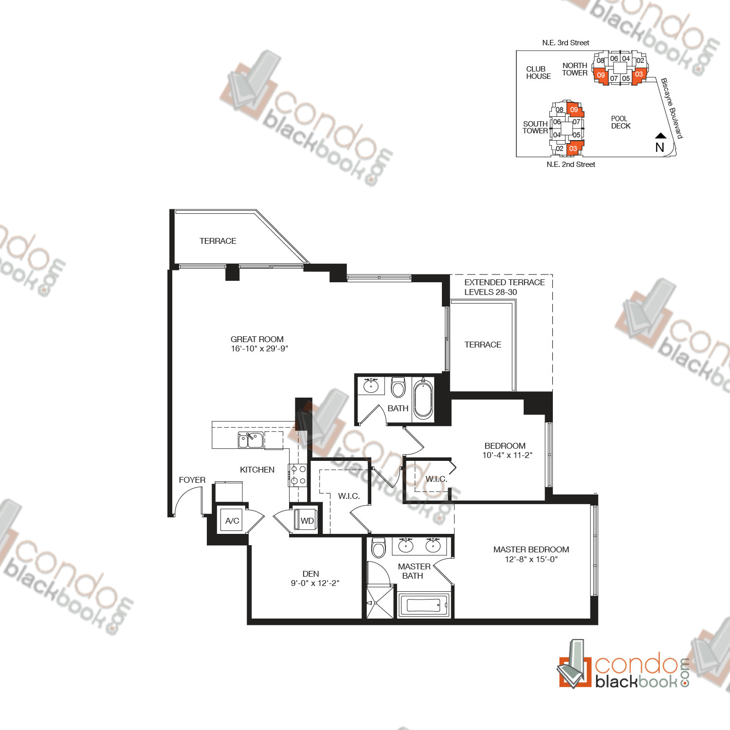 Floor plan for Vizcayne Downtown Miami Miami, model RESIDENCE 6, line 03, 09, 2/2+DEN bedrooms, 1,515 sq ft
