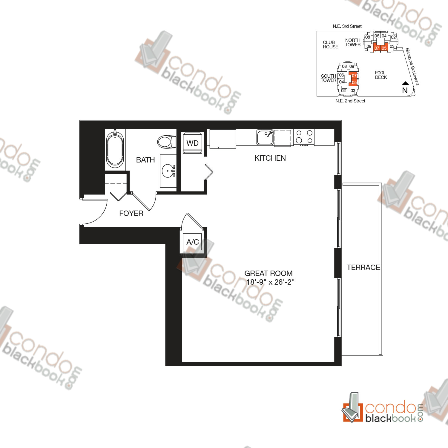 Floor plan for Vizcayne Downtown Miami Miami, model RESIDENCE 7, line 05, 07, 0/1 bedrooms, 708 sq ft