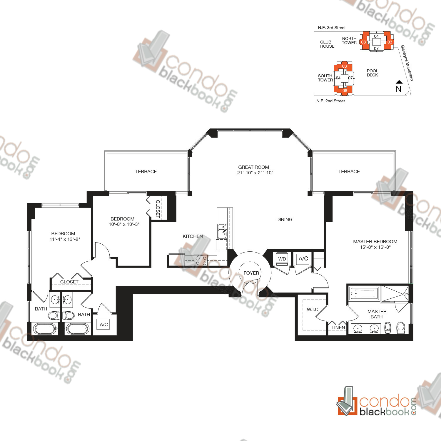 Floor plan for Vizcayne Downtown Miami Miami, model RESIDENCE 8, line 03, 08, 3/3 bedrooms, 1,970 sq ft