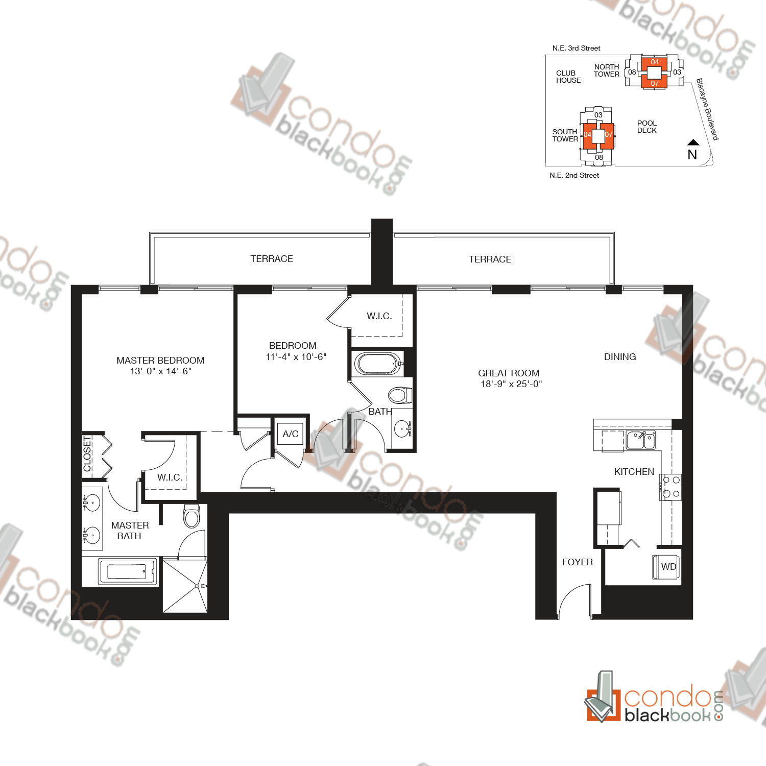 Floor plan for Vizcayne Downtown Miami Miami, model RESIDENCE 9, line 04, 07, 2/2 bedrooms, 1,419 sq ft
