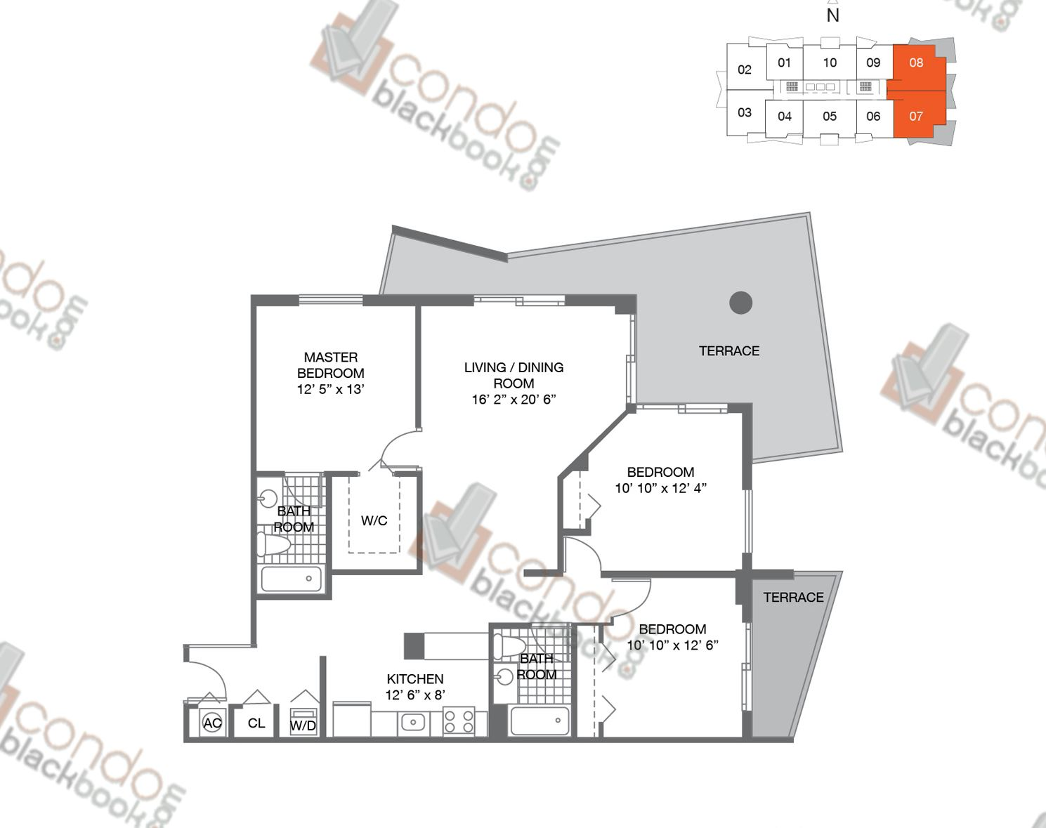 Floor plan for 1800 Biscayne Plaza Edgewater Miami, model A-A1, line 07,08, 3/2 bedrooms, 1,318 sq ft