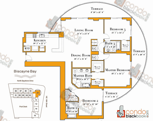 Floor plan for 1800 Club Edgewater Miami, model R-01, line 01, 3/3 bedrooms, 2,189 sq ft