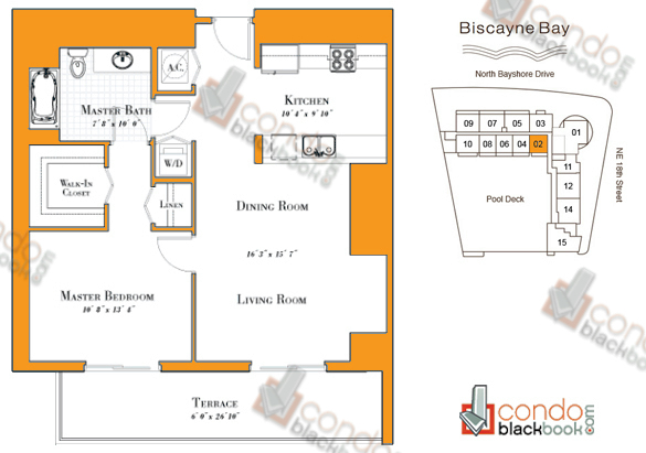Floor plan for 1800 Club Edgewater Miami, model R-02, line 02, 1/1 bedrooms, 841 sq ft