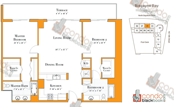 Floor plan for 1800 Club Edgewater Miami, model R-05, line 05, 2/2 bedrooms, 1,222 sq ft