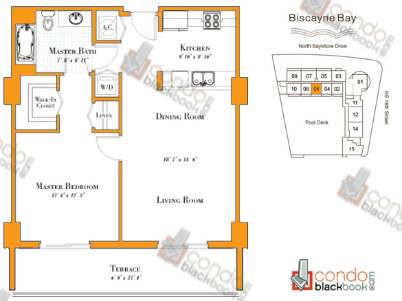 Floor plan for 1800 Club Edgewater Miami, model R-06, line 06, 1/1 bedrooms, 822 sq ft