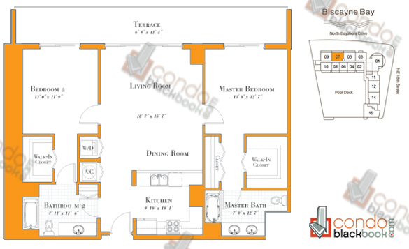 Floor plan for 1800 Club Edgewater Miami, model R-07, line 07, 2/2 bedrooms, 1,222 sq ft