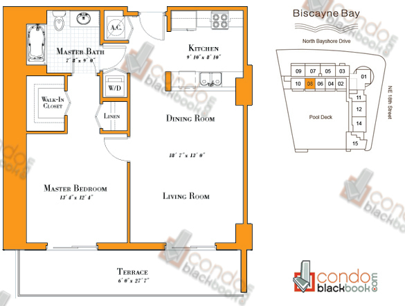 Floor plan for 1800 Club Edgewater Miami, model R-08, line 08, 1/1 bedrooms, 839 sq ft