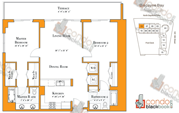 Floor plan for 1800 Club Edgewater Miami, model R-09, line 09, 2/2 bedrooms, 1,154 sq ft